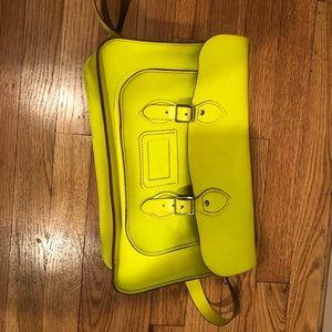 Neon green Leather Satchel